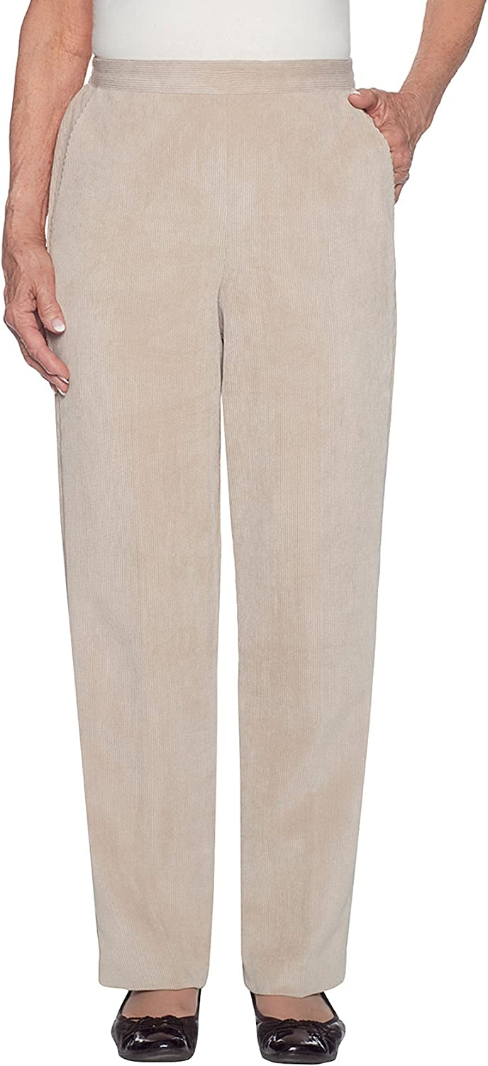 Alfred Dunner Womens Corduroy Short Pant Clean Front Back Elastic Side Pockets
