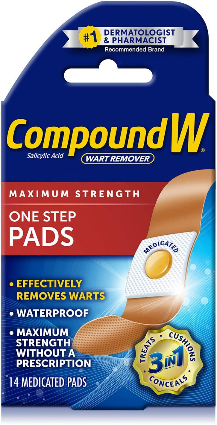 Amazon Com Compound W One Step Pads Salicylic Acid Wart Remover 14 Count Pack Of 1 Pads White Health Personal Care