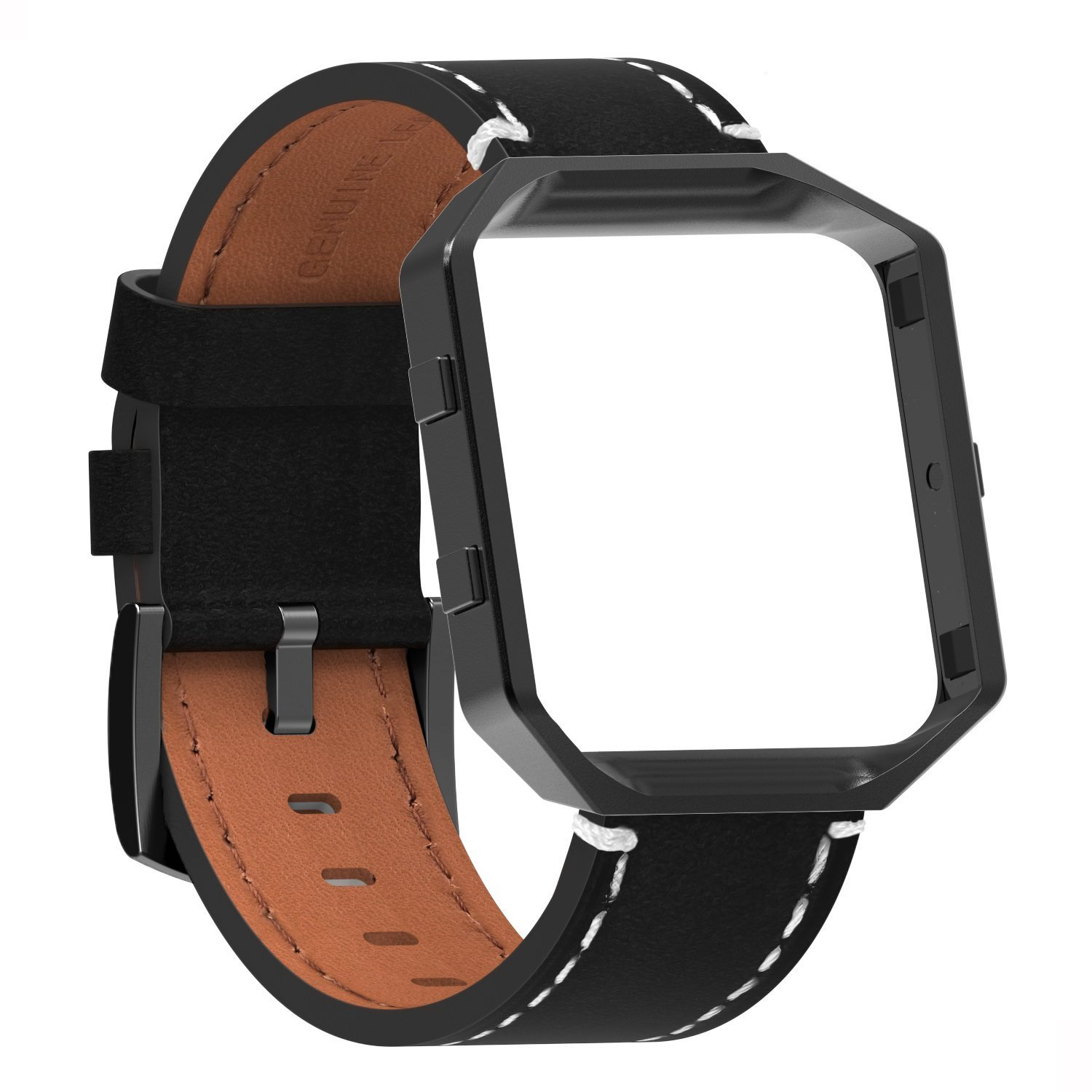 OMGOT Band for Fitbit Versa Bands Genuine Leather Leather Replacement Bracelet for Women Man Black