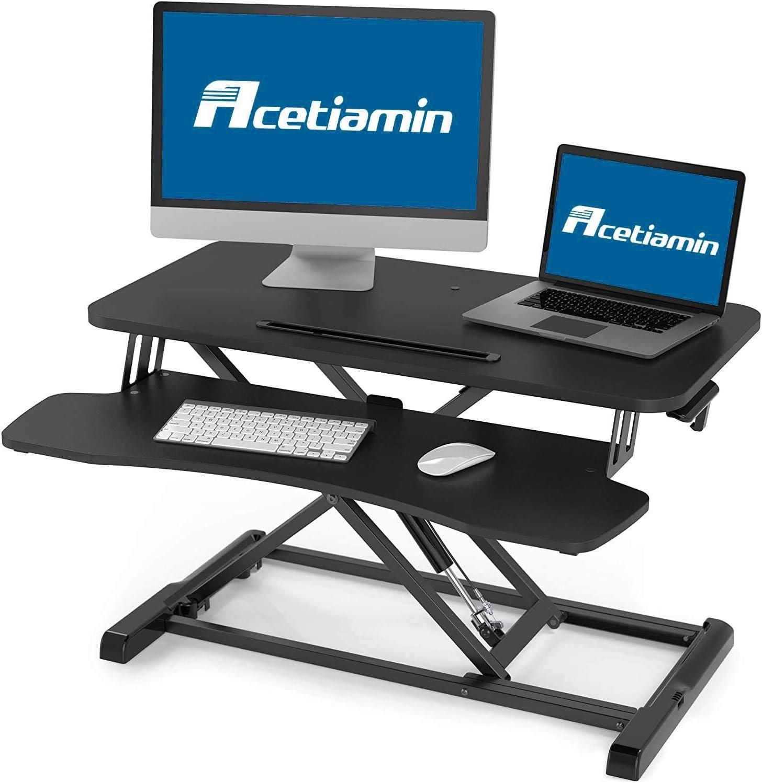 Acetiamin Standing Desk Converter 32 inch Height Adjustable Sit Stand Up Desk Riser Laptop Stand Large Wide Home Office Desk for Dual Monitor Workstation,Black