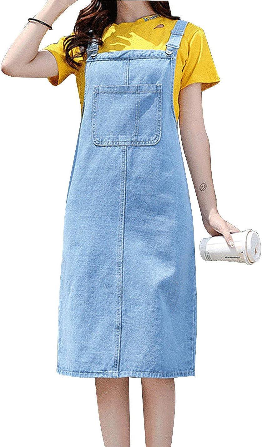 AMEBELLE Women's Casual Straps A-line Pinafore Midi Bib Skirt Denim Overall Dress