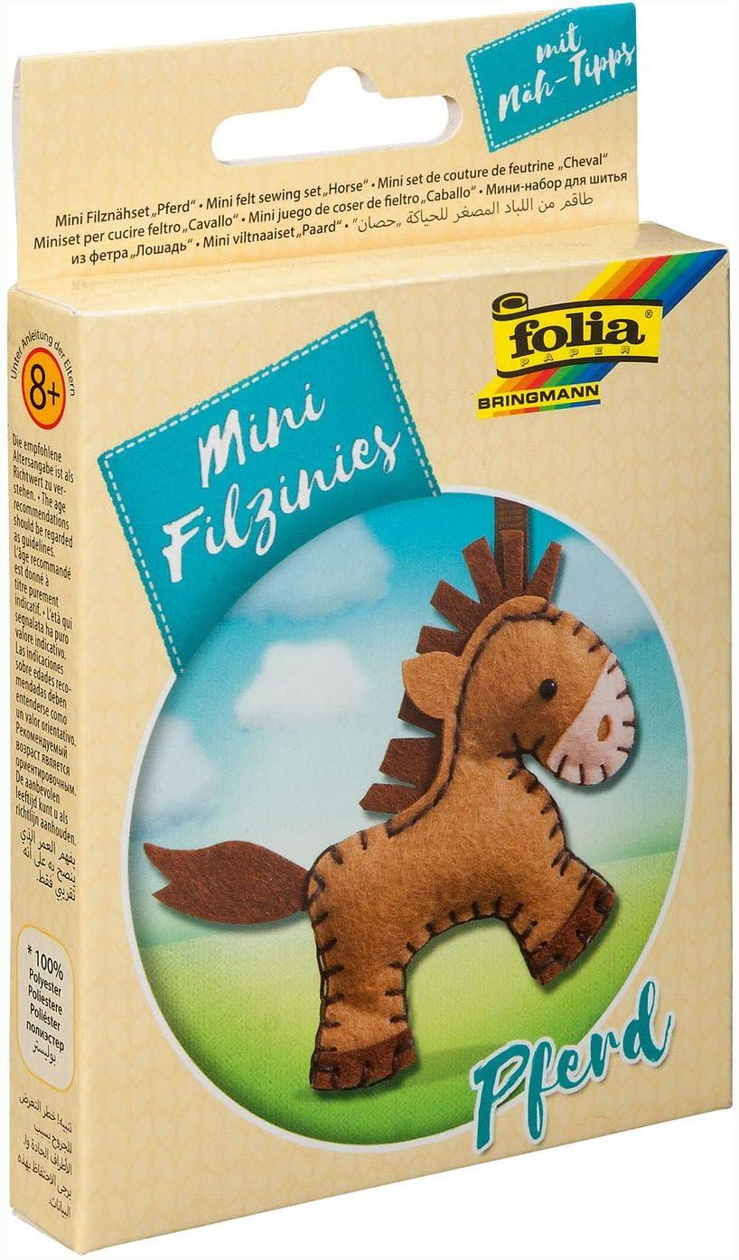 Folia 52905 Juego de Costura de Fieltro para niños pequeños, Colgante de Caballo, 11 Piezas, Multicolor