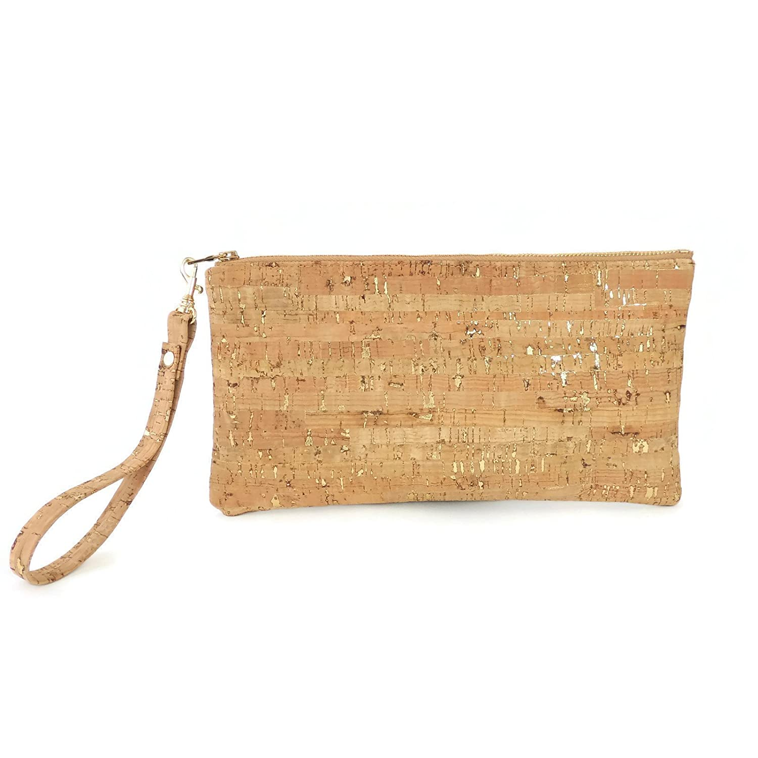 Wristlet Clutch in Cork with Gold Flecks by Spicer Bags