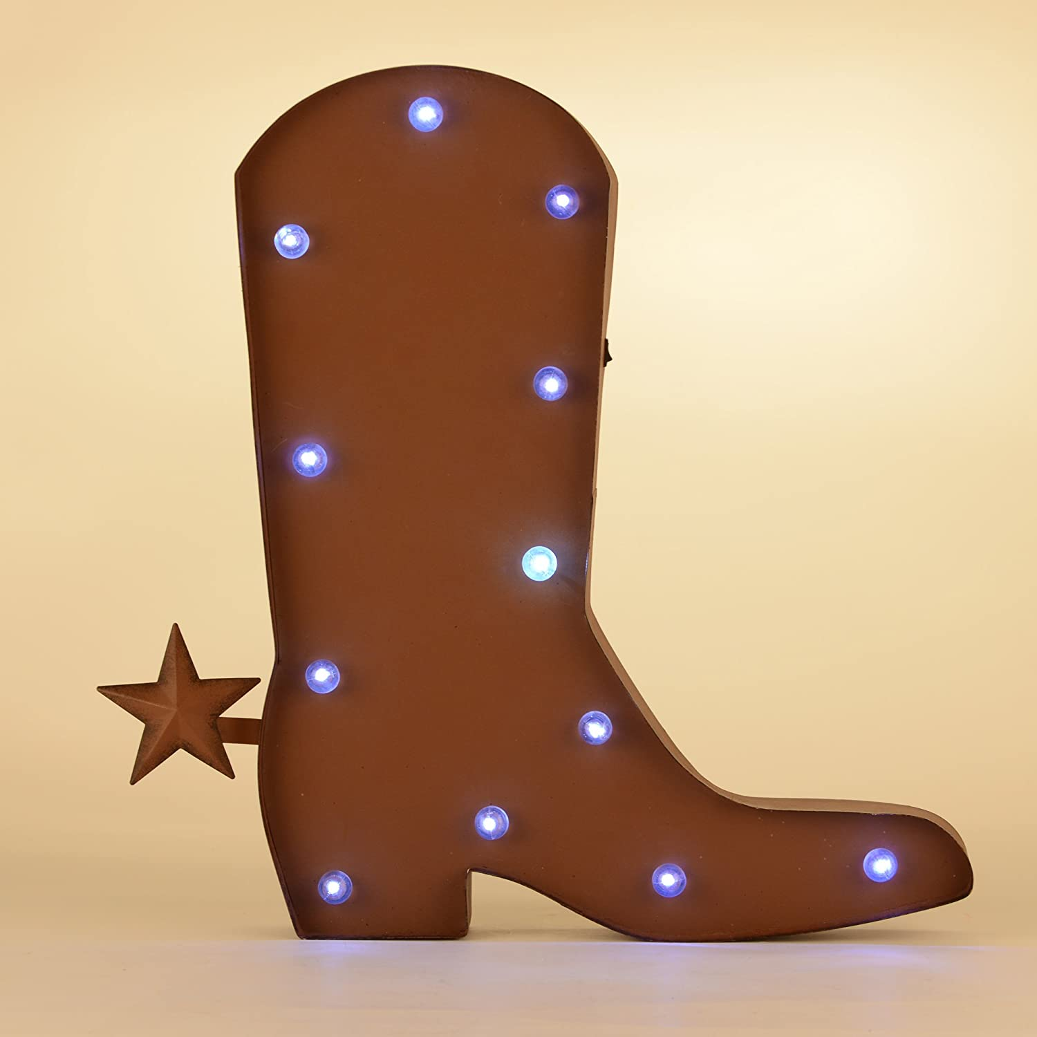 Glitz Home Rustic Marquee Led Lighted Western Cowboy Boot Sign Wall Decor, 18&quot, Red