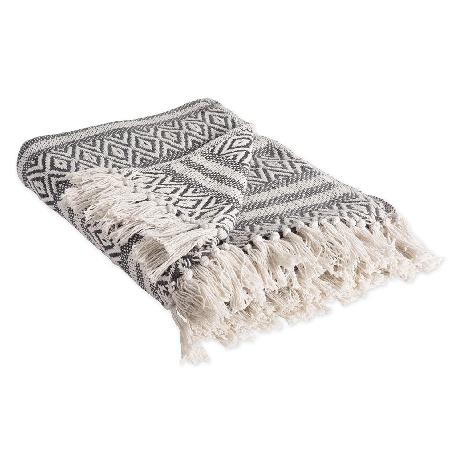 "DII Rustic Farmhouse Cotton Adobe Stripe Blanket Throw with Fringe For Chair, Couch, Picnic, Camping, Beach, & Everyday Use , 50 x 60"" - Adobe Stripe Mineral"