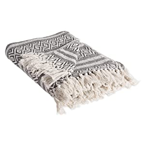 """DII Rustic Farmhouse Cotton Adobe Stripe Blanket Throw with Fringe For Chair, Couch, Picnic, Camping, Beach, & Everyday Use , 50 x 60"""" - Adobe Stripe Mineral"""