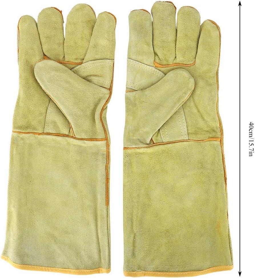 Guantes de soldadura de cuero totalmente forrados de algod/ón de vaca dividida cuero resistente al calor y al fuego 35,56 cm de longitud
