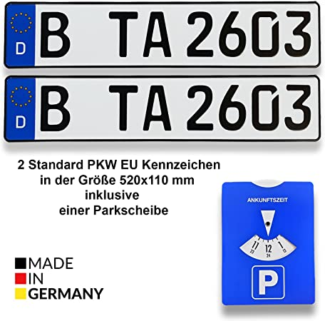 Ta Tradearea Din Certified European Number Plate In Standard Size 520 X 110 Mm Including Parking Disc Suitable For All German Vehicles And Bike Carriers 520 Mm X 110mm X 1 Mm 2