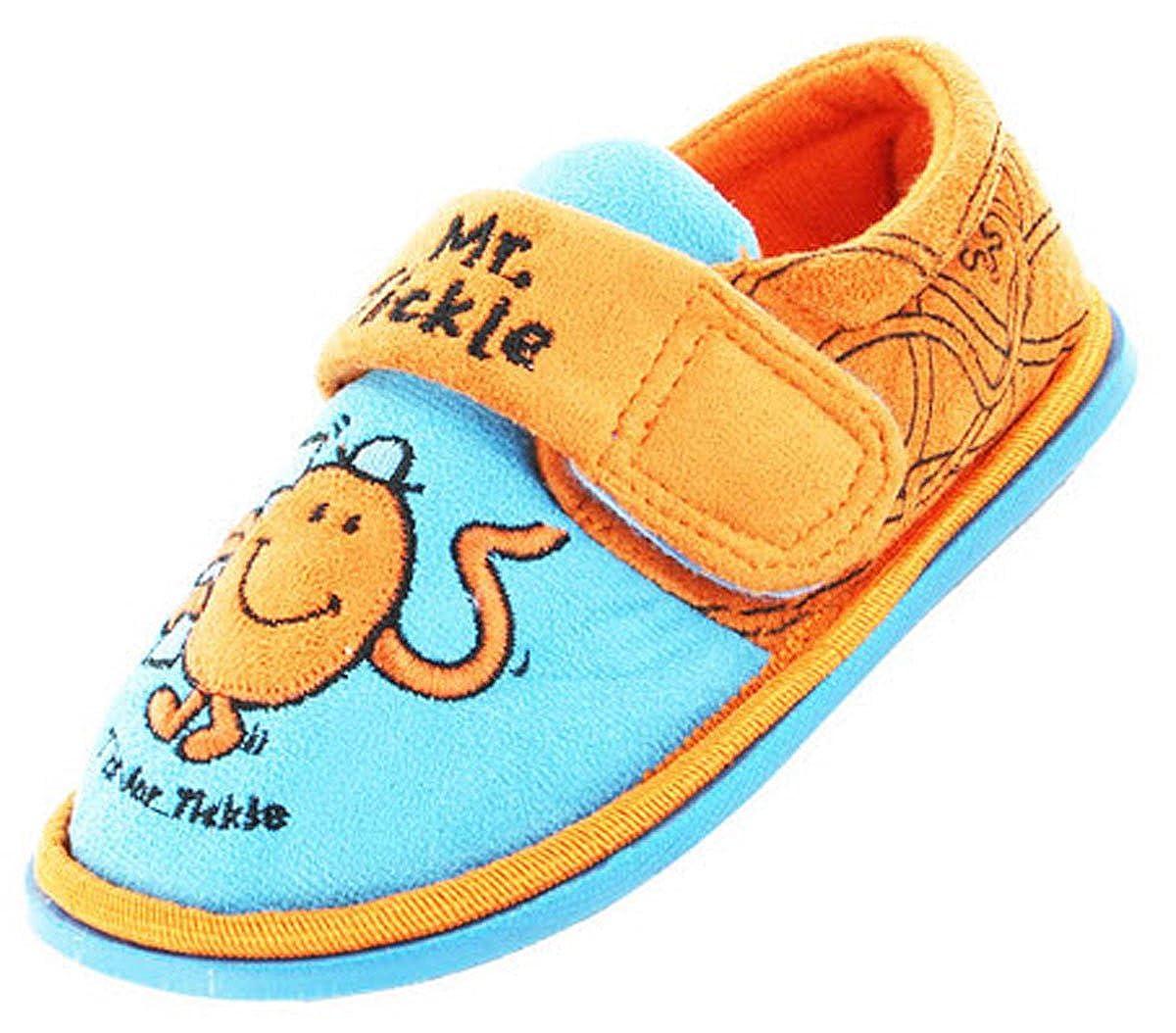 New Kids Boys Novelty Mr Men Mr Tickle T Cartoon Character Slipper UK 4 Blue
