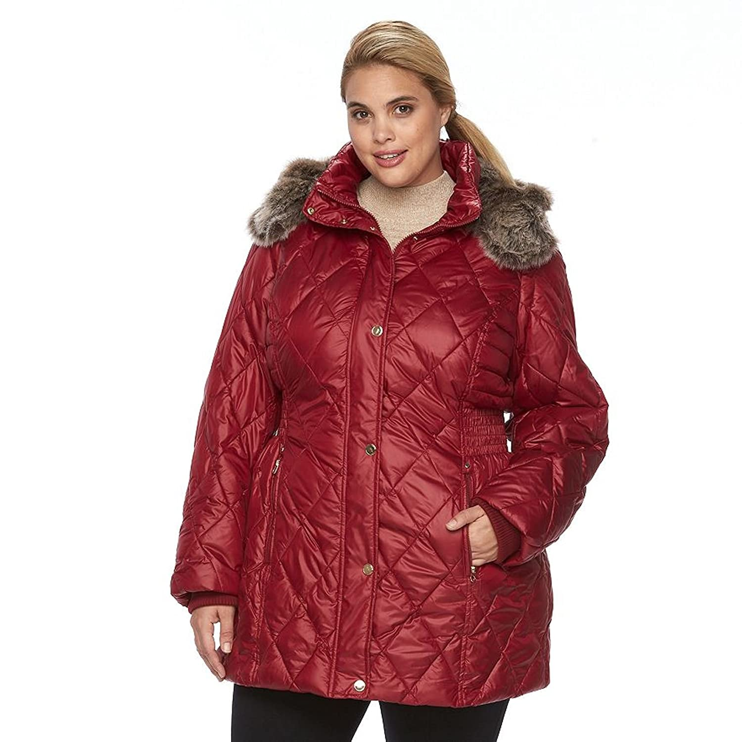 eb439f1fb Apt 9 Women's Plus Size Hooded Quilted Puffer Jacket (1X, Autumn red ...