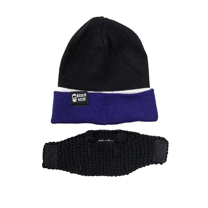 497e1c2fa5763 Amazon.com  Beard Head Tailgate Series Stubble Beanie w Beard Hat (Black    Purple)  Clothing