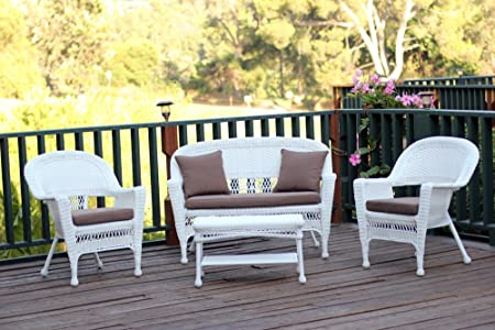 Jeco W00206-G-FS007 4 Piece Wicker Conversation Set with with Cocoa Brown Cushions, White