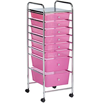 VonHaus 8 Drawer Pink Rolling Cart Organizer Utility Cart For Home, Office  And Beauty Storage