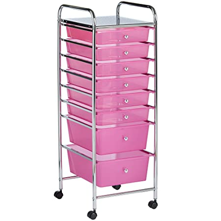Von Haus Pink 8 Drawer Organizer Cart With Rolling Wheels Multi Purpose Utility Cart For Home, Office, Art, Crafts And Beauty Storage by Von Haus
