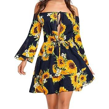 9cd361715 Amazon.com: GBSELL Fashion Women's Summe Boho Off Shoulder Sunflower ...
