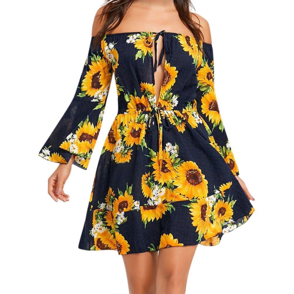 GBSELL Fashion Women's Summe Boho Off Shoulder Sunflower Dress (XL)