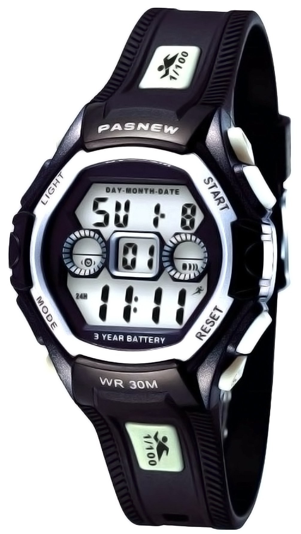Waterproof Boys/Girls/Kids/Childrens Digital Sports Watches for 5-12 Years Old (Black-White)