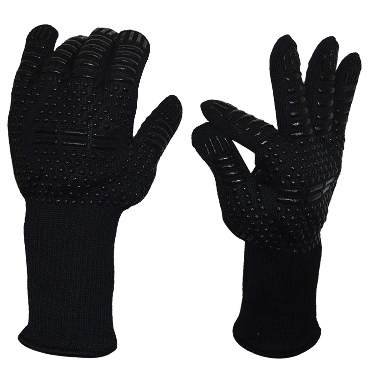 932/°F Extreme Heat Resistant Oven Mitts Cooking Grilling BBQ 1 pair Baking Silicone Non-slip Kitchen Cooking Gloves for Barbecue Senders BBQ Grill Gloves