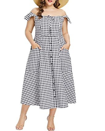 dcc56fc9a0c ZAFUL Womens Casual Plus Size Gingham Dress Off Shoulder Midi A line with  Pockets(2XL) Grey  Amazon.co.uk  Clothing