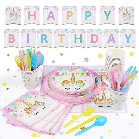 16 Stück Einhorn Farben Einweg-Plastikgabeln Kinder Geburtstag Geschirr