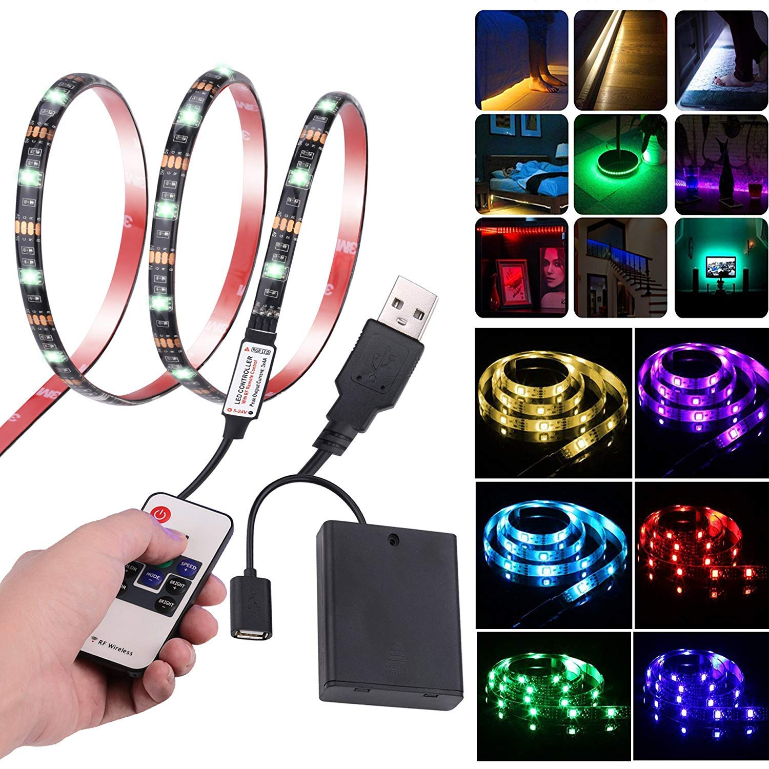 Leimaq Led Strip Lights USB Battery Powered TV Backlight Led Light Strip with RF Remote Waterproof Multi Color Changing RGB SMD 5050 Rope Light by Leimaq