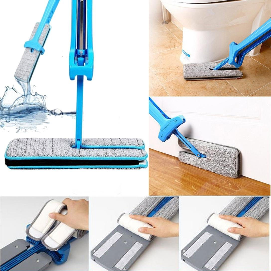 Sandistore Double Sided Microfiber Lazy Flat Mop, Easy Self Wringing Wet and Dry Clean Mop for Corner, Bathroom, Kitchen, Tile and Hardwood Floor Silver (14 x 4inches) (Blue) by Sandistore (Image #6)