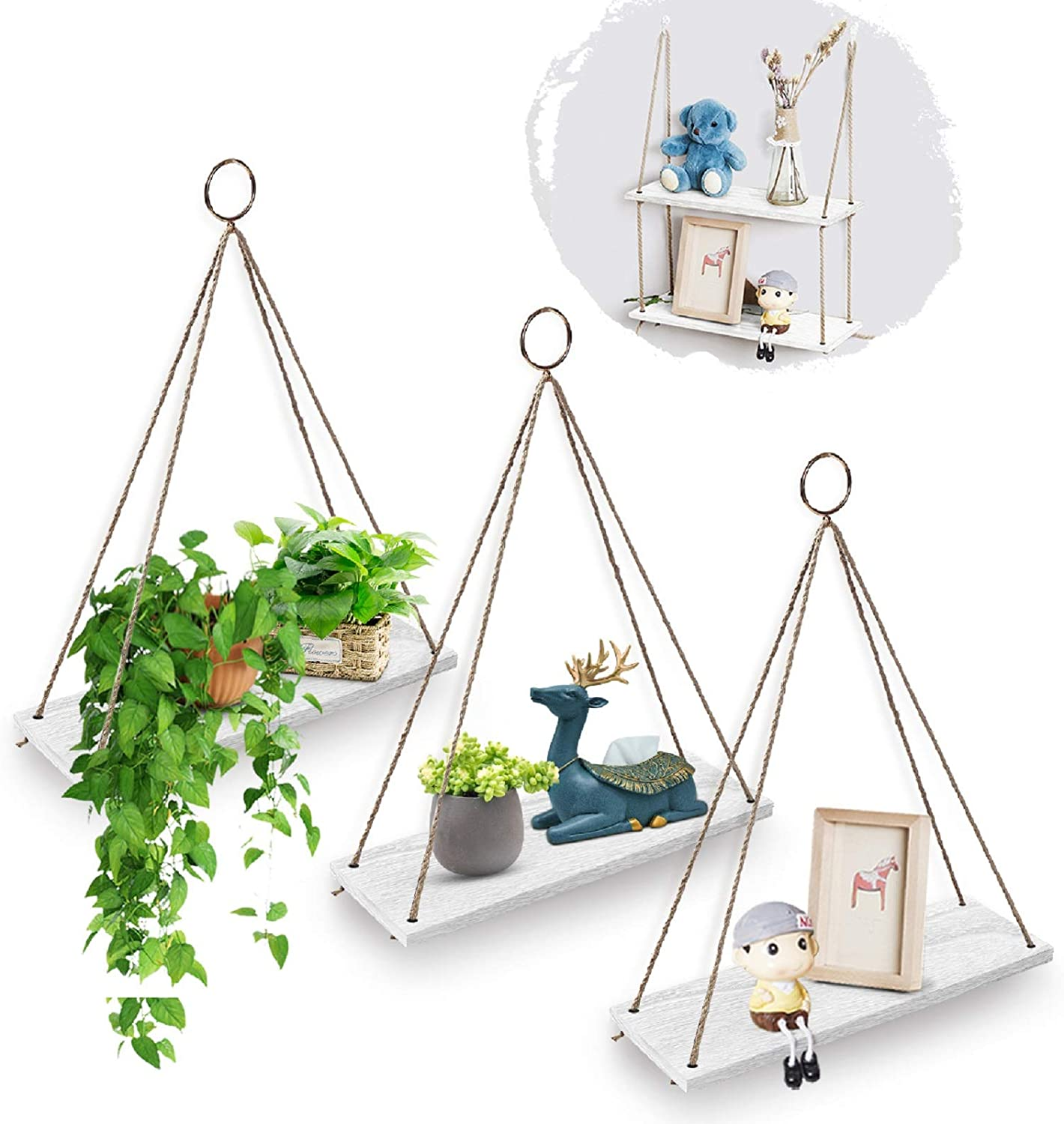 AGSIVO Hanging Shelves for Wall Hanging Floating Shelves with Rope for Living Room Bedroom Bathroom - Wood Hanging Shelf Storage Decor Wall Shelves, Lightweight and Durable (3PCS White)
