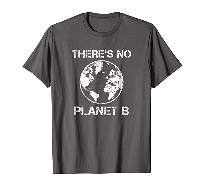 Mens There Is No Planet B - Earth Day T-Shirt 2XL Asphalt