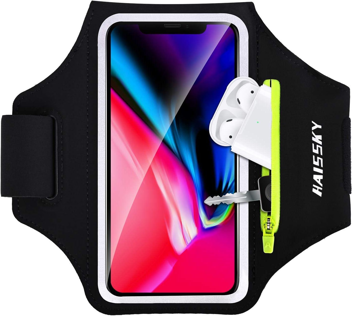 Brazalete Deportivo para Corre con Airpods Holder,HAISSKY Brazalete Móvil Deportivo para iPhone 11 Pro MAX/iPhone 11 Pro/iPhone XS MAX/iPhone XR/ 8 Plus/8 Galaxy S9/S8 Plus,Huawei P20 hasta 6.8