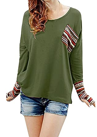 5f5a682525d0 Minetome Women Plaid Checked Long Sleeve Round Neck Loose Shirt Blouse Tops  ( Green )
