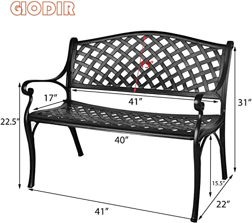 GIODIR Outdoor Patio Garden Bench All-Weather Cast Aluminum Loveseats Park Yard Furniture Porch Chair Work Entryway Decor w Checkered Design Black