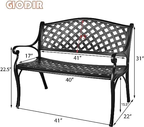 GIODIR Outdoor Patio Garden Bench All-Weather Cast Aluminum Loveseats Park Yard Furniture Porch Chair Work Entryway Decor w/Checkered Design Black