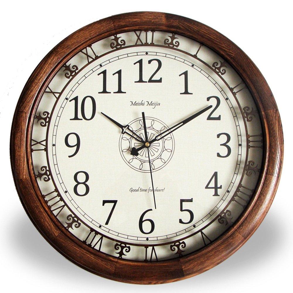 LXF 掛け時計 ソリッドウッドミュートウォールクロックアメリカンスタイルヨーロッパスタイルレトロクォーツ時計ムーブメントアンティーク中空ウォールクロック B07FRRP8CS