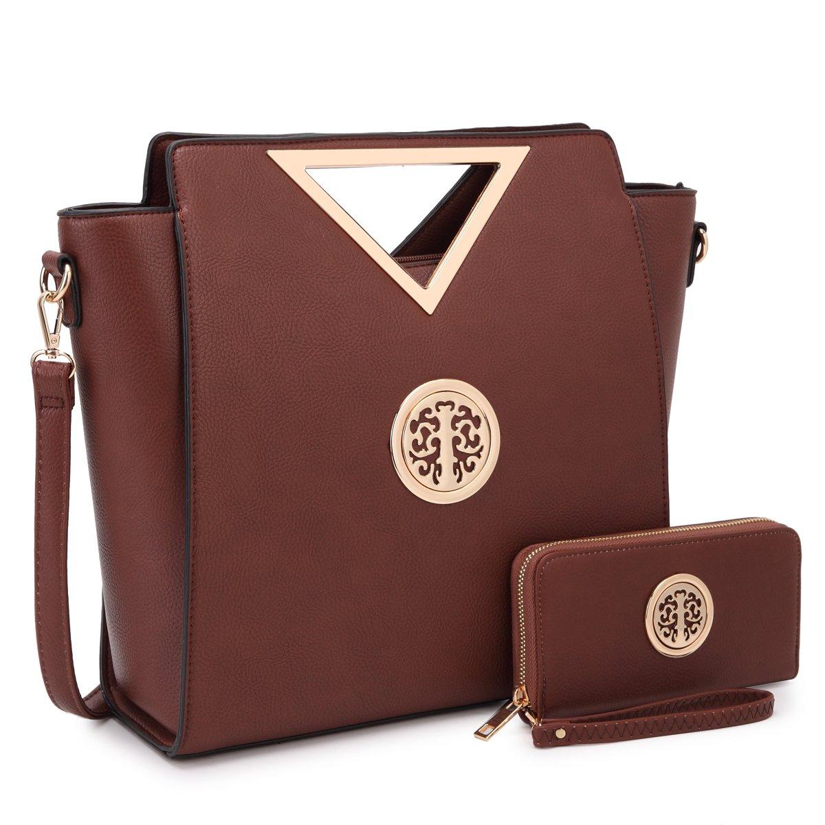 Dasein Winged Tote B0714BZ59G 7464 Brown + Matching Wallet 7464 Brown + Matching Wallet