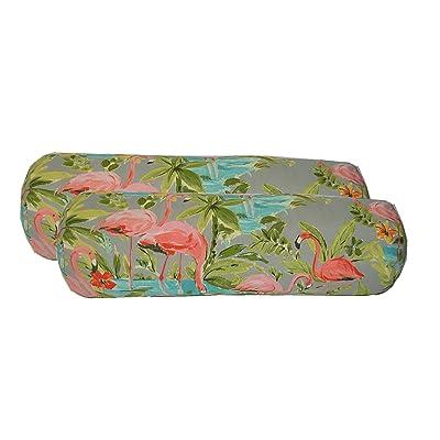 Resort Spa Home Decor Set of 2 - Indoor/Outdoor Bolster/Neckroll Decorative Pillows - Waverly Elegant Tropical Platinum Flamingo - Grey Aqua Green Coral : Garden & Outdoor