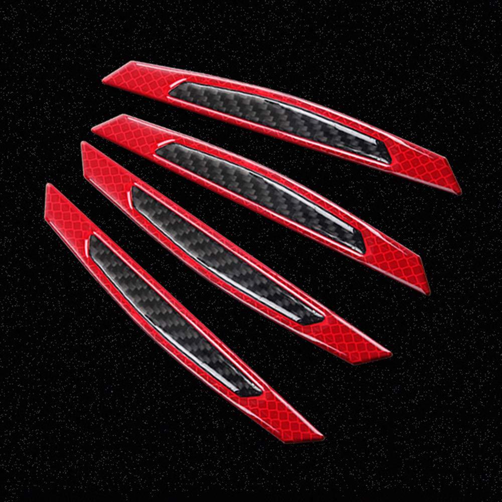 4 tiras reflectantes de fibra de carbono para proteger la puerta del coche contra ara/ñazos