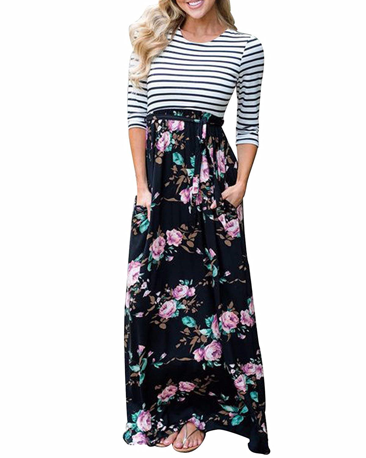 Blackf GIKING Women's Casual Short Sleeve Striped Round Neck Pleated Long Maxi Dress with Pockets