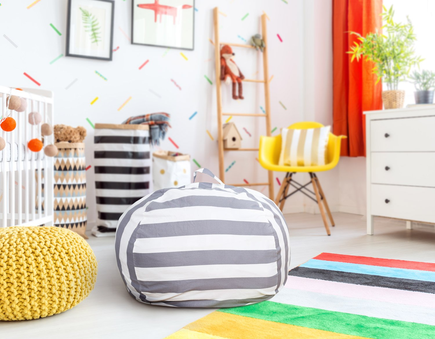 BROLEX Extra Large 38'' Stuffed Animals Bean Bag Chair Cover-100% Cotton Canvas Kids Toy Storage Zipper Bags Comfy Pouf for Unisex Boys Girls Toddlar, Grey White Stripe