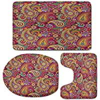 3 Piece Bath Mat Rug Set,Paisley,Bathroom Non-Slip Floor Mat,Paisley-Patterns-Based-on-Traditional-Asian-Elements-Eastern-Cultural-Design,Pedestal Rug + Lid Toilet Cover + Bath Mat,Multi