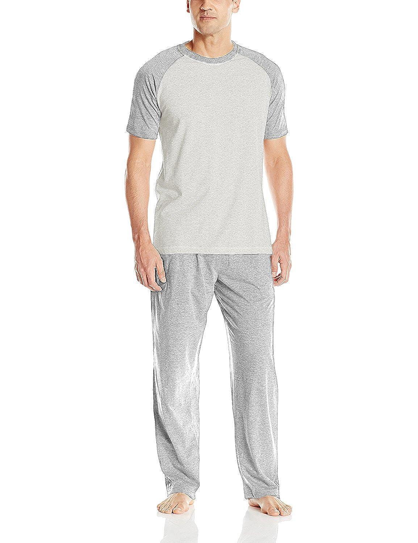 Hanes Men's Adult X-Temp Short Sleeve Cotton Raglan Shirt and Pants Pajamas Pjs Sleepwear Lounge Set