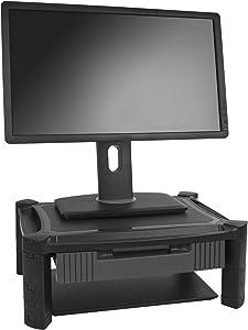 "StarTech.com Adjustable Monitor Riser - Drawer - Monitors up to 32""- Adjustable Height - Monitor Stand - Computer Monitor Riser (MONSTADJD)"