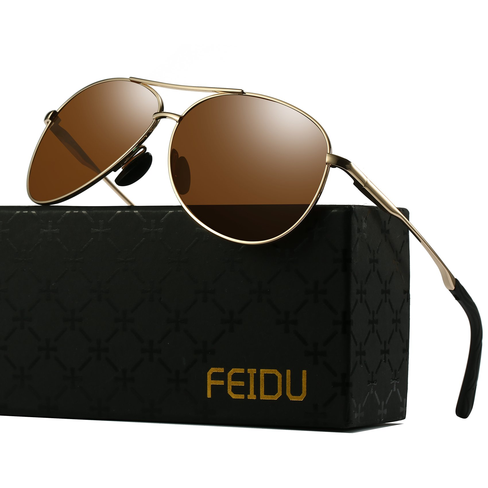 Polarized Aviator Sunglasses for Men - FEIDU Driving Sunglasses Unisex FD9002 (brown-9002, 2.28) by FEIDU