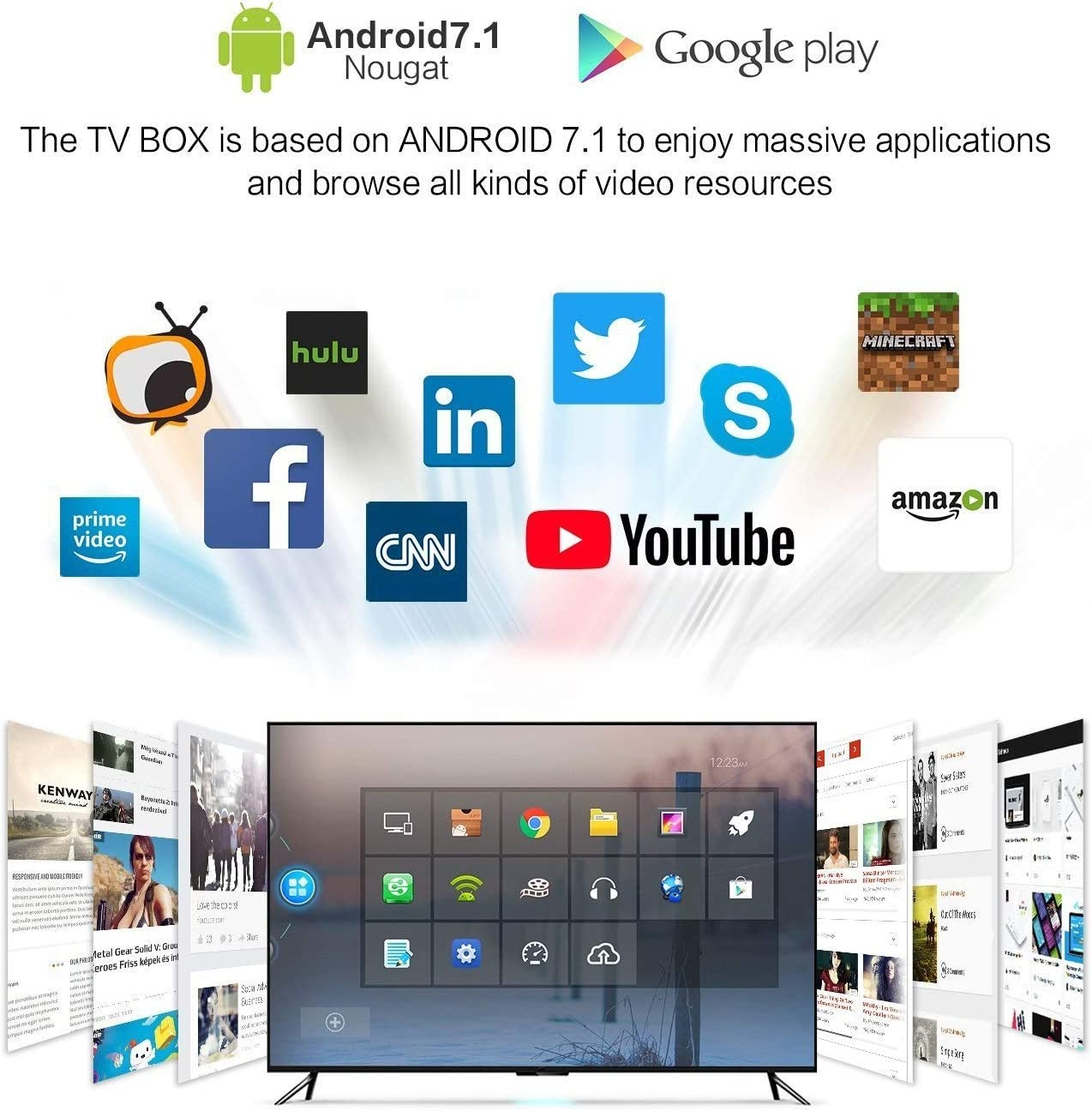 YOMRIC Android TV Box - Android 7.1 Smart TV Boxsets, Amlogic S905X de Cuatro núcleos, 2GB de RAM y 16GB de ROM, 4K @ 60fps Ultra HD, codificador de Video de Soporte