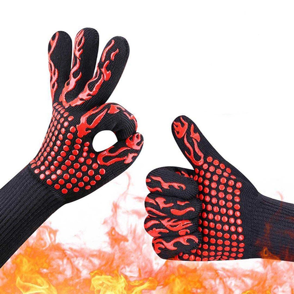 Qukueoy Oven Gloves Heat Resistant 500 Degrees, Extra Long BBQ Grilling Gloves for Cooking Outdoors, Premium Insulated Silicone Lined Aramid Fiber,Cut Resistant, Anti Slip
