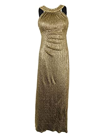 Xscape Womens Beaded Metallic Full Length Dress (4P, Black/Gold) at Amazon Womens Clothing store: