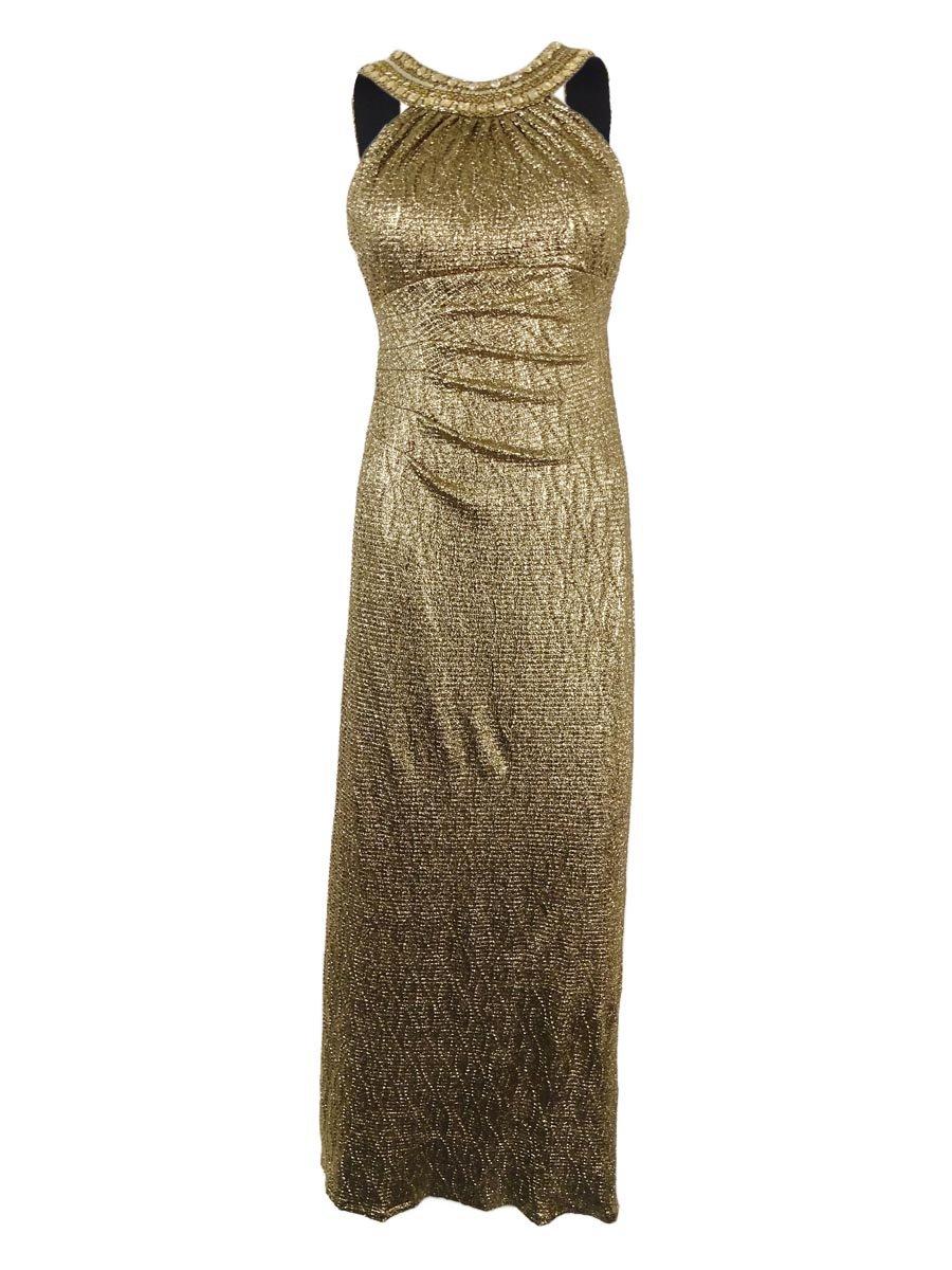 Xscape Women's Beaded Metallic Full Length Dress (4P, Black/Gold)