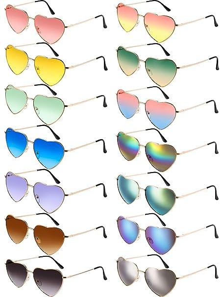 Amazon.com: Chinco 14 piezas corazón gafas de sol marco de ...