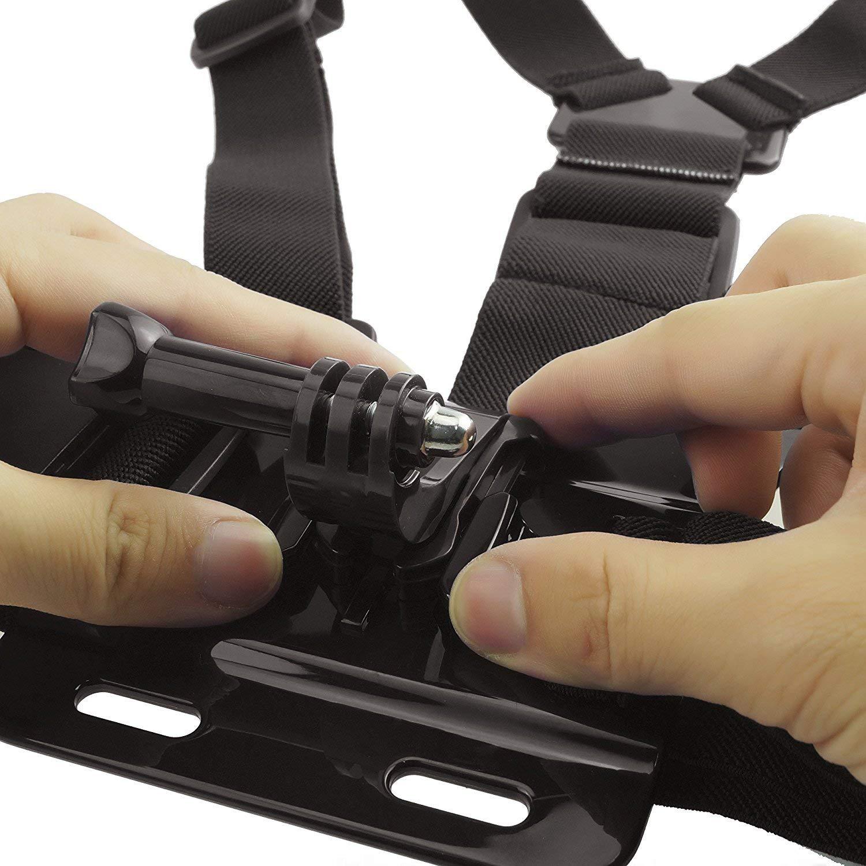 Victure Xiaomi YI Campark Crosstour Eyeon Chesty Chest Harness Strap Mount Harnais de Poitrine Fixation Support de Poitrine avec J Hook pour et Vis pour GoPro Apeman Action Cam/éra SJCAM