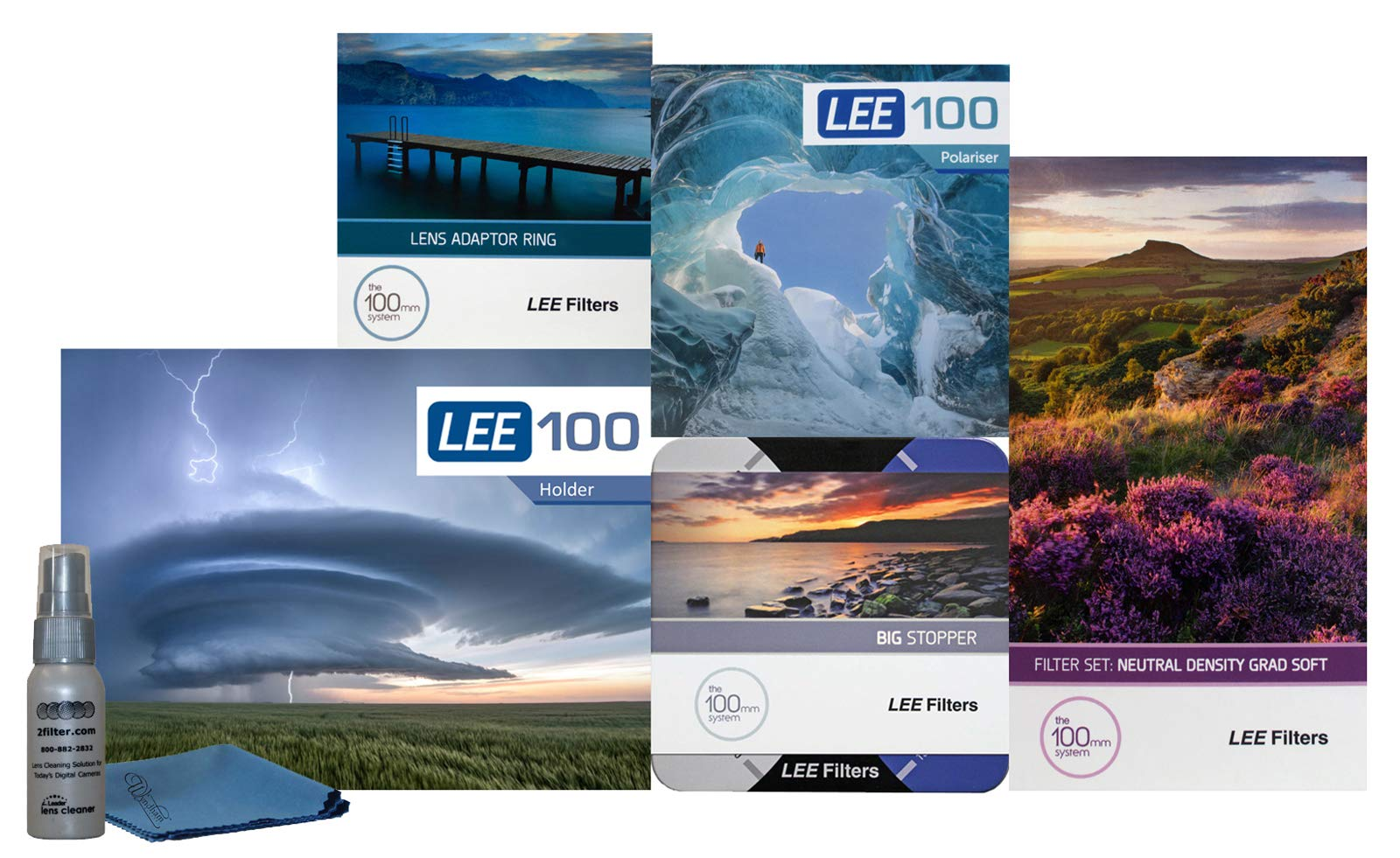 LEE Filters LEE100 77mm Special Edition Landscape Kit 1 - LEE100 Filter Holder, LEE 100mm Soft Edge Grad ND Filter Set, LEE 100mm Big Stopper, LEE100 Circular Polarizer and 77mm Wide Angle Ring