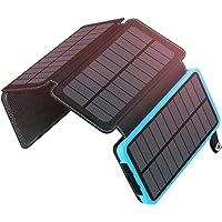 ADDTOP Cargador Solar Portátil 25000mAh Impermeable Power Bank con 4 Paneles Batería Externa Dual USB para iPhone, iPad y Samsung Galaxy y más